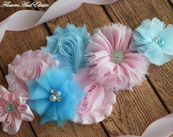 Flower Sash, Light pink and light blue Sash , flower Belt, maternity sash, flower girl sash