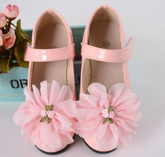 Flower girl shoes baby pink lace flowers pink leather shoes like this item mightylinksfo Choice Image