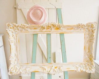 Picture frame Shabby chic white-gold frame Baroque Brocante unique