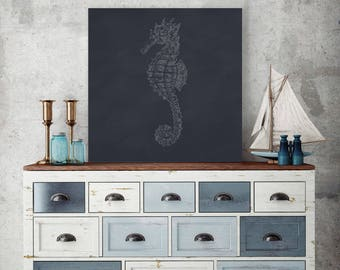 Seahorse Print, Seahorse Wall Decor, Seahorse Decor, Seahorse Canvas Print, Nautical Themed, Coastal Themed, Lake House Decor, Beach Home