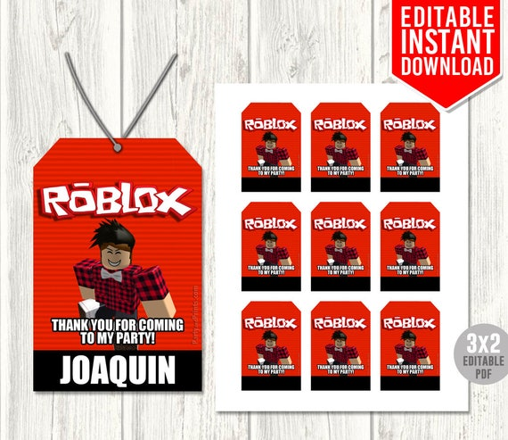 Roblox Thank You Tags Roblox Favor Tags Roblox Party Favors