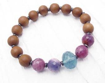 sandalwood bracelet, stretch bracelet, gemstone bracelet, boho bracelet, fragrant sandalwood, Christmas gift, ruby, fluorite, Hill Tribe