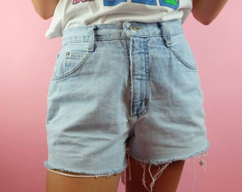 Vintage 90s Bonjour Light Denim Jean Cut Offs - High Waisted 1980's Denim Shorts - Sz 29 Waist