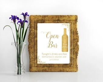 Open bar sign gold foil Wedding Reception Drink Sign Printable bar sign Reception Sign Bar sign Gold wedding printable decor Digital file