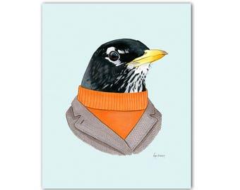 Robin art print - Woodland nursery - Nursery art - Woodland animals - Animals in Clothes - Bird Artwork - Ryan Berkley Illustration 8x10