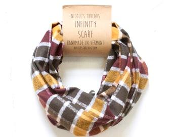 Infinity Scarf - Plaid - Flannel - Oversized - Plaid - Cider Plaid Flannel - Warm - Winter - Cozy - Unisex - Gray