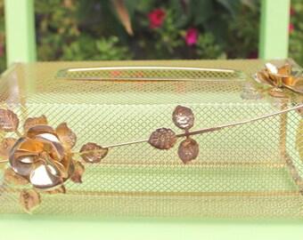 SALE Vintage Brass Tissue Box Cover