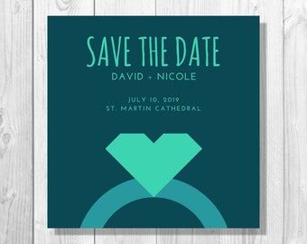 Turquoise Heart Ring Save the Date Announcement - Printable