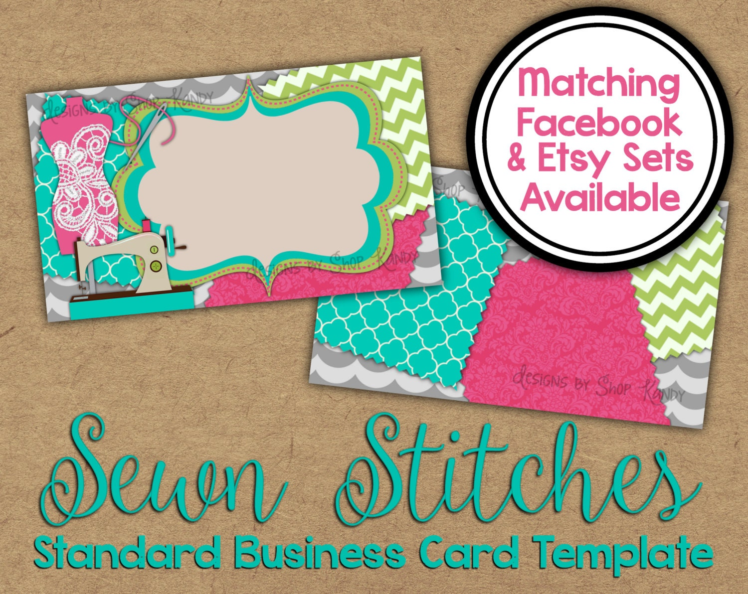 Sewn Stitches Business Card 2 sided Sewing Business Card