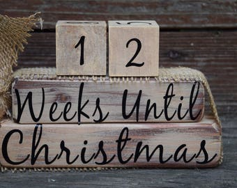 Vintage Christmas Countdown Blocks/Days Until Christmas  - Off White with Off White #s