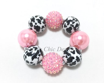 Toddler or Girls Pink Cow Print Chunky bracelet - Farm Girl chunky bracelet - Girls Bubblegum Bracelet - Cow Print Chunky Bracelet