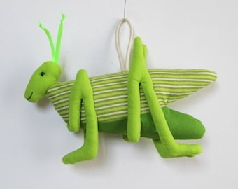 Fabric Grasshopper keychain, ornament, accessory