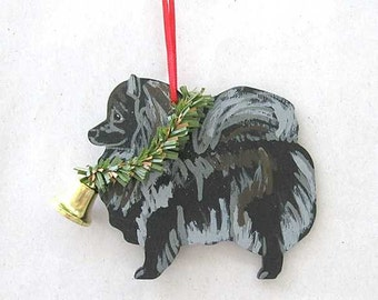 Hand-Painted POMERANIAN BLACK Wood Xmas Ornament...Artist Original, Christmas Tree Ornament Decoration