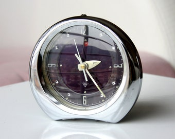 Vintage alarm clock 1970s metal clock Wind up mechanical clock Chinese retro desk clock Old table clock Diamond China Dark purple and silver