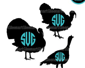 Turkey svg bundle, Turkey monogram, Turkey clipart, Thanksgiving svg, Thanksgiving monogram, Silhouette svg, Commercial use Instant download