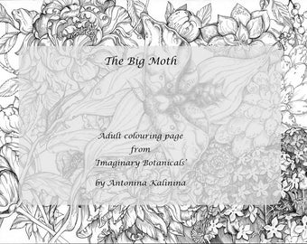 The Big Moth. Adult coloring page with tropical flowers and a butterfly. Hand-drawn. Instant digital download. Peonies. Moth.