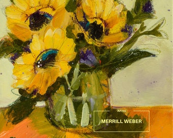 SUN and SHADOW, Original FRAMED Mixed Media Floral Painting on Canvas, By artist Merrill Weber, Flowers, Contemporary Sunflowers Painting