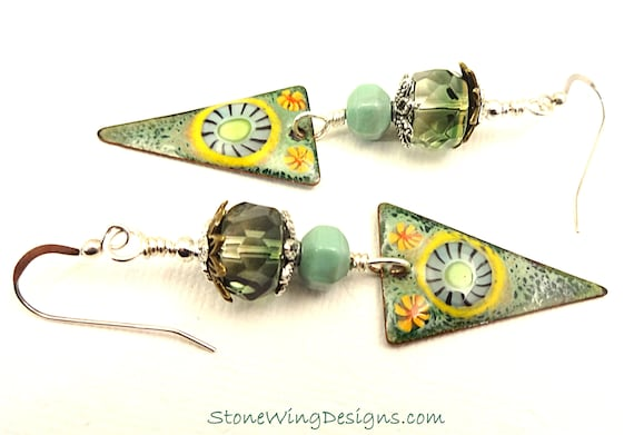 Artisan Enamel and Green Gemstone Triangle Earrings