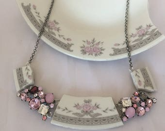 Pink and grey jewelry/ statement necklace/broken plate jewelry/recycled necklace/vintage china/ broken china jewelry/wedding jewelry