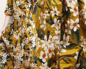 Yellow linen fabric with big floral print linen cotton blend fabric soft cotton fabric dress fabric