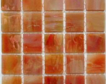 """20mm (3/4"""") Coral Red Orange Iridescent TIFFANY STAINED GLASS Mosaic Tiles//Mosaic Supplies//Crafts"""