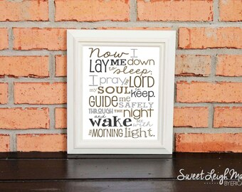 Now I Lay Me Down to Sleep Prayer – Gender Neutral - Grays and Tans  - Playroom - Christian Art - Baptism Gift - Christening Gift