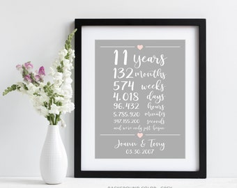 11th Anniversary Gift ~ 11 Years Together Art Print | Eleventh Wedding Anniversary Gift | Weeks Days Hours Minutes Seconds Together