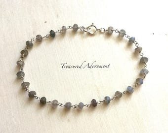 Labradorite Rosary Chain Bracelet, sterling silver bracelet, rainbows gemstone, Wire Wrapped Bracelet,  Dainty Bracelet, Birthday gift