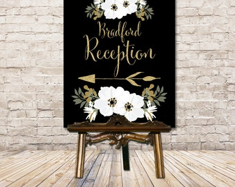 Wedding Reception Sign, Wedding Directional Sign, Wedding Direction Sign, Wedding Ceremony Sign, Black and Gold Floral, Art Deco, Printable