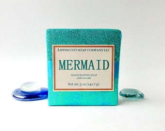 Mermaid Cold Process Soap, Salt Soap, Bar Soap, Palm Oil Free, Women's Soap, Mermaid Soap, Gift for Her