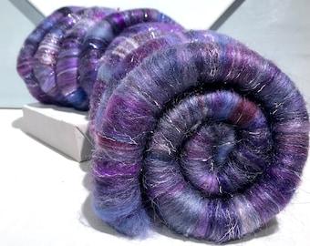 "Purple rolags ""Gimmee Grape"" spinning, felting fiber art rolags, DIY Gift, nuno felting, Navy Blue Purple Silver Grey lavender Red Violet"