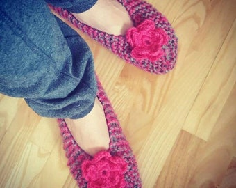 Knit Slippers, Women Slippers, Natural Wool Slippers, Gray and Pink Slippers, Slippers with Flower, Shoes for Home, Indoor Shoes