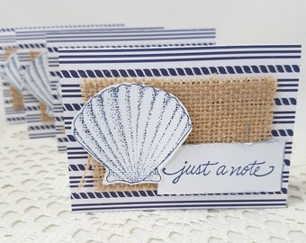 Nautical Note Cards - Just a Note Nautical Cards - Sea Shell Note Cards -  Navy Blue Note Cards - Sea Shell Note Card Set - Note Card Set