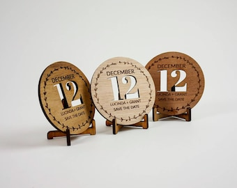Wooden Rustic Wedding / Engagement Save the Date - Block Cutout