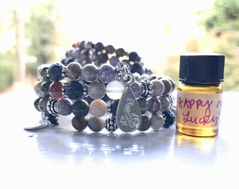 Ocean Jasper Essential Oil Diffuser Gemstone Fully Adjustable Bracelet with Sample of our Happy Go Lucky Essential Oil Aromatherapy Blend