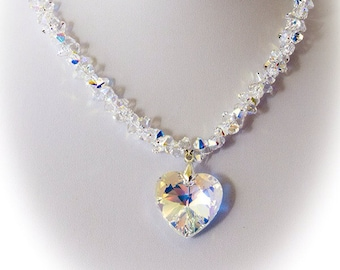 Bridal Belle Swarovski Heart Necklace   Bridal Jewelry   Gift for Her   Crystal Necklace   Romantic Gift   Jewellery