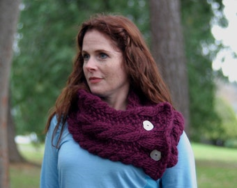 Hand-Knit Cable Wool Cowl with Buttons, Plum