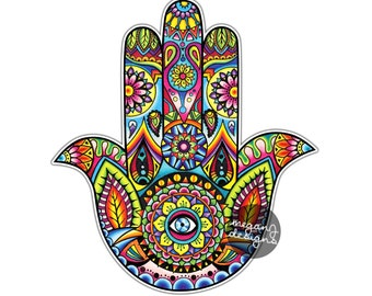 Hamsa Hand Sticker Decal Multicolor Car Decal Laptop Decal Religious Amulet Wall Art Sticker Religion Yoga Happiness Luck Eye Symbol Hippie