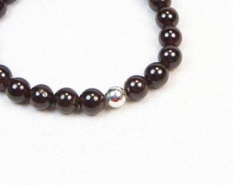 Garnet Bracelet - Stretch Bracelet - Stackable Bracelet - Gemstone Beaded Bracelet - Womens Bracelet - Gift - January Birthstone