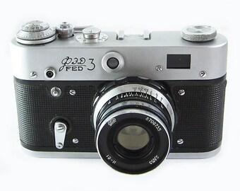 FED 3 Russian Soviet 35mm Film Leica Copy Rangefinder Camera Industar-61LD Lens