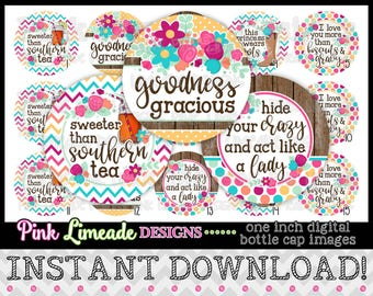 """Goodness Gracious - Southern Sayings - INSTANT DOWNLOAD 1"""" Bottle Cap Images 4x6 - 1005"""