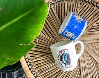 southwest coffee mugs / set of 2 Native American Indian mugs