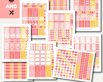 Monthly planner sticker set, Planner sticker kit, Weekly layout stickers, Printable stickers, Weekly stickers kit, STI-888