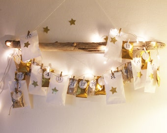 Christmas: Advent Calendar Kit -Gold and White- to Fill - Golden Star Stickers