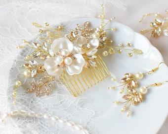Bridal Hair Piece, Rhinestone Hair Piece, Wedding Hair Piece, Pearl Hair Comb, Bridal hair Jewelry, Gold Hair Comb, Pearl Headpiece