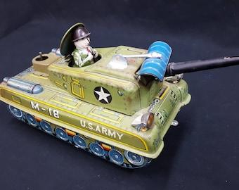 Vintage Tin Litho M18 U.S. Army Tank By Yonezawa Toys Of Japan