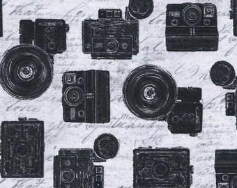Grey & Black Vintage Cameras Fabric