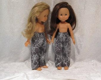 "LES CHERIES Corolle 13"" Dolls Handmade Elastic Waist Pants  #P02 Halloween Purple Elastic Waist PANTS with Spiders & Sparkling Webs"