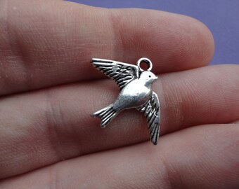 Silver Bird Charm 23x18mm 9 pcs B011