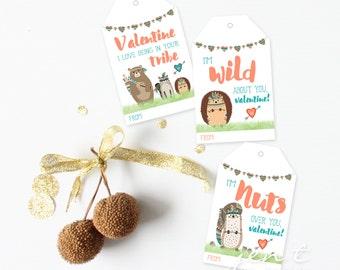 Printable Valentine Tags for Kids - Tribal Valentines - Animal Valentines - Wild Valentines